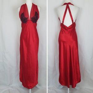 Natori Vintage Red Satin Nightgown